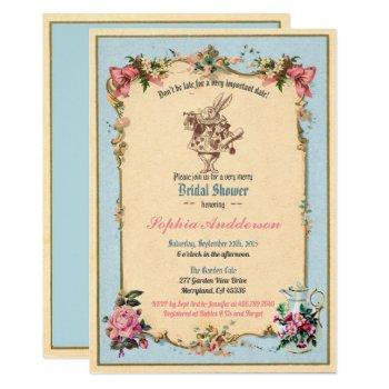 alice in wonderland bridal shower invitation blue