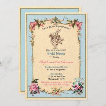 alice in wonderland bridal shower invitation blue