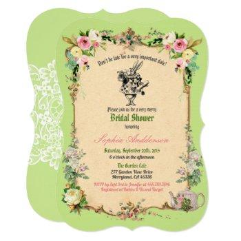 alice in wonderland bridal shower invitation green