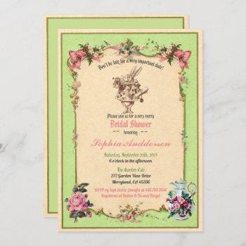 alice in wonderland bridal shower invitation green