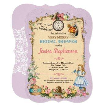 alice in wonderland bridal shower invitation lilac