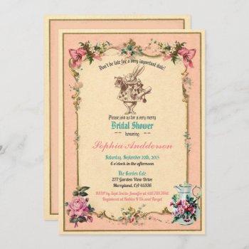 alice in wonderland bridal shower invitation pink