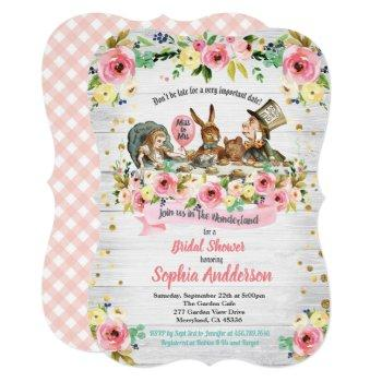alice in wonderland bridal shower invitation pink