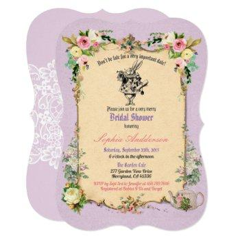 alice in wonderland bridal shower invitation tea