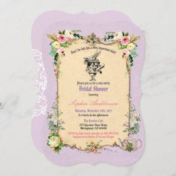 alice in wonderland bridal shower invitation tea