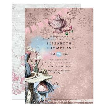 alice in wonderland bridal shower tea party invitation