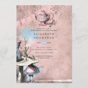 alice in wonderland bridal shower tea party invitation
