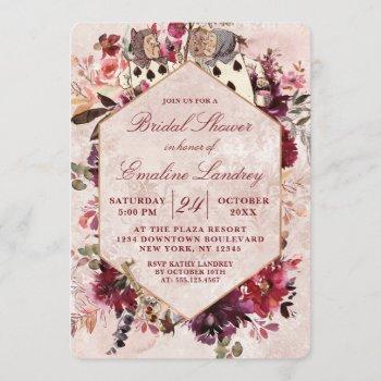 alice in wonderland elegant wedding bridal shower invitation