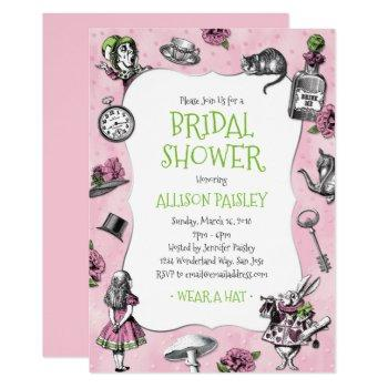 alice in wonderland pink and green bridal shower invitation