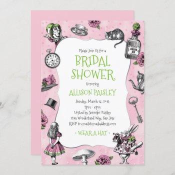 alice in wonderland pink and green bridal shower invitation
