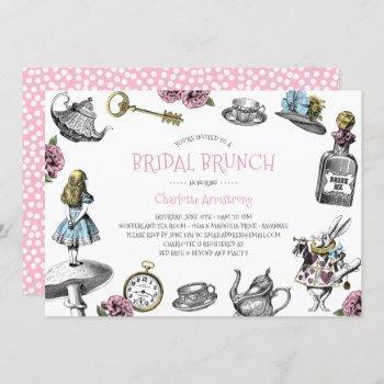 alice in wonderland pink bridal brunch invitation
