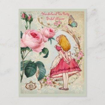alice in wonderland roses collage bridal shower invitation