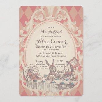 alice in wonderland shower invitations   pink