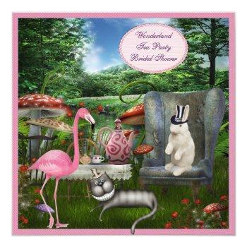 alice in wonderland tea party bridal shower invitation