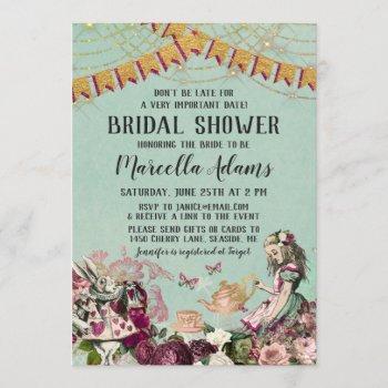 alice in wonderland virtual bridal shower invitation