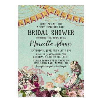 alice in wonderland virtual bridal shower invitation