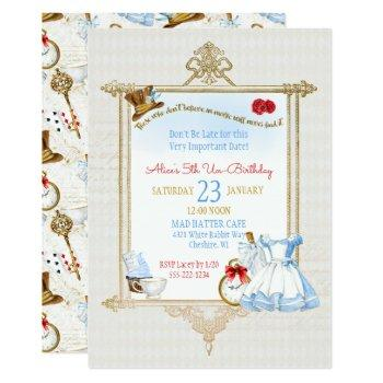 alice in wonderland watercolor invitation