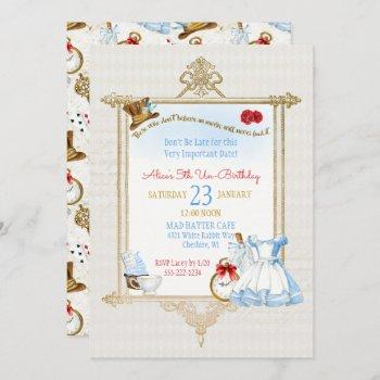 alice in wonderland watercolor invitation