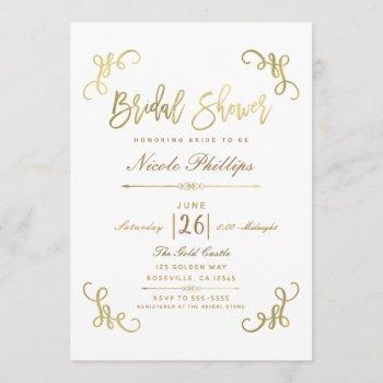all gold faux foil bridal shower script type invitation