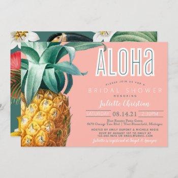 aloha tropical luau summer bridal shower  invitation