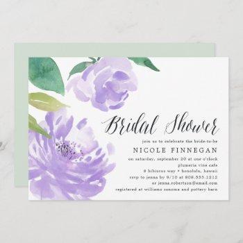 amethyst peony   bridal shower invitation