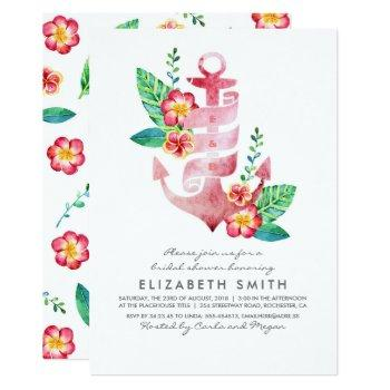 anchor beach nautical tropical bridal shower invitation