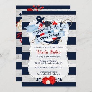 anchor bridal shower invitation - nautical navy