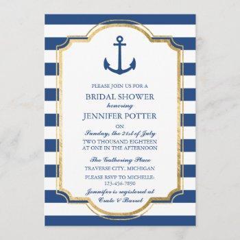 anchored in love ii nautical stripe bridal shower invitation