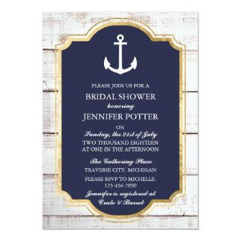 anchored in love rustic nautical bridal shower invitation