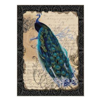 ancient peacock save the date cards - black