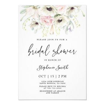anemone floral bridal shower invitation