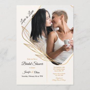 angle photo bridal shower invitation