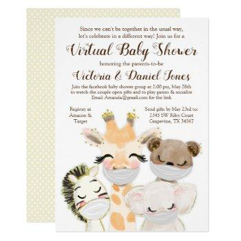 animals with masks drive through covid baby shower invitation