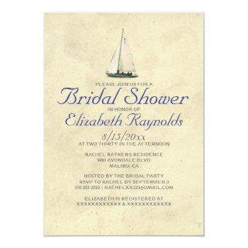 antique boats bridal shower invitations