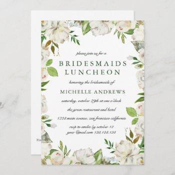 antique garden  chic bridesmaids luncheon wedding invitation