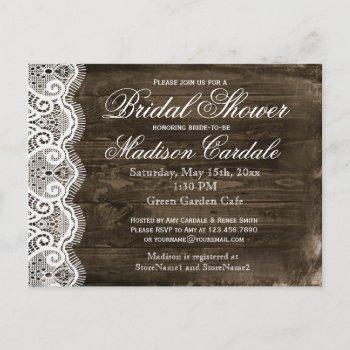 antique lace rustic bridal shower invite postcards