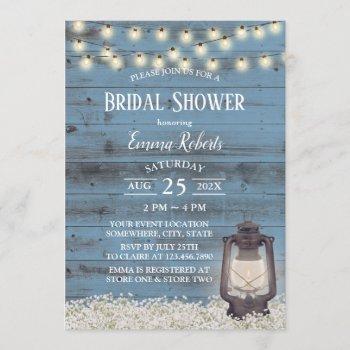 antique lantern rustic dusty blue bridal shower invitation