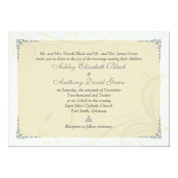 antique silver gold celtic knot wedding invitation