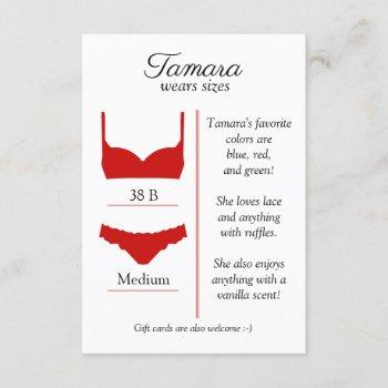 any background color: lingerie size insert card
