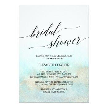 aqua and gold watercolor beach bridal shower invitation