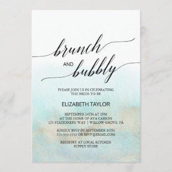 aqua and gold watercolor beach brunch and bubbly invitation