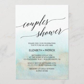 aqua and gold watercolor beach couples shower invitation