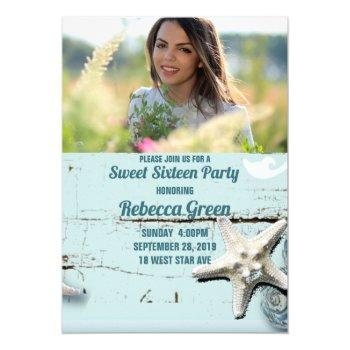 aqua blue seashell beach sweet sixteen party invitation