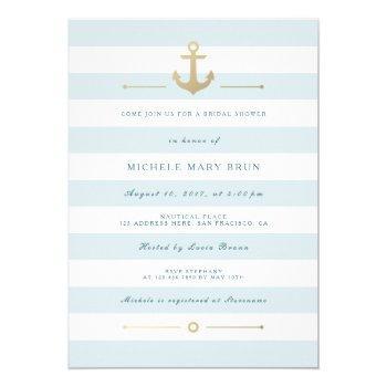 aqua blue striped nautical bridal shower invite