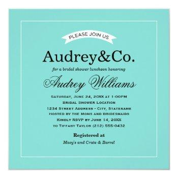 aqua blue vintage bridal shower invitation