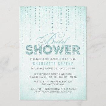 aqua glitter look bridal shower invitation