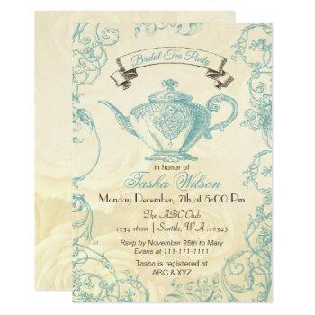 aqua ivory roses vintage bridal tea invites