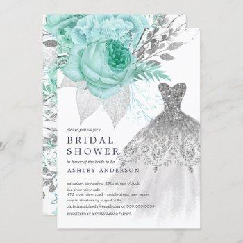 aqua & silver floral wedding dress bridal shower invitation