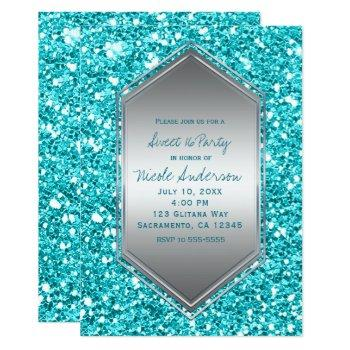aqua silver glitter glam birthday party any event invitation