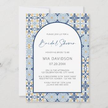 arch positano mediterranean blue bridal shower invitation